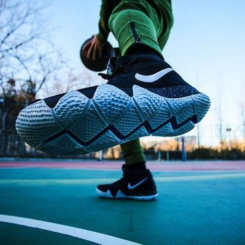 [ Free  Shipping ]NIke  Kyrie 4 Black  White  Anthracite Basketball Shoes
