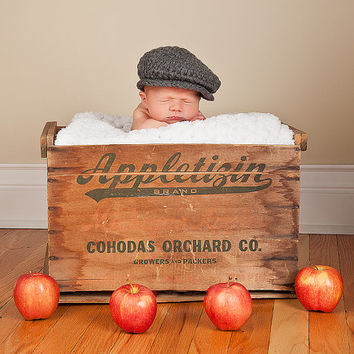 Baby Boy Irish Donegal Cap, Preemie/Newborn Baby Boy Crochet Irish Donegal Baby Hat - Charcoal Gray Tweed Wool Photography Prop Baby Boy Hat