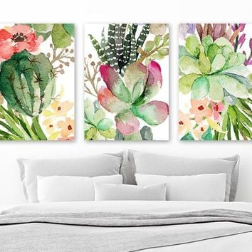 CACTUS SUCCULENT Watercolor Wall Art, Watercolor Flower CANVAS or Prints Succulent Flower Artwork, Botanical Flower Wall Decor, Set of 3
