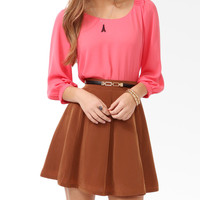 Pleated Shoulder Chiffon Top