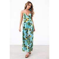Tropical Queen Printed Jumpsuit (Aqua)