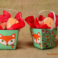 2 Woodland Fox Mini Gift Baskets with Tea Lights