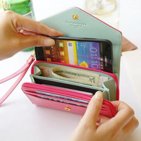 Wallet Case for Women Girl PU Leather Pouch Cover for iPhone 4S 5S 5C 6 Lovely Luxury Case Capa for Samsung Galaxy S2 S3 S4 S5