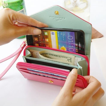 "5.5"" Wallet Case Women Girl PU Leather Pouch Cover For iPhone 4S 5S SE 6 6S Plus Lovely Luxury Case For Samsung Galaxy S3 S5 S6"