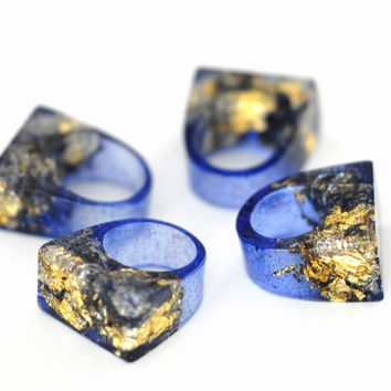 Galaxy Golden Dark Blue Transparent Resin Ring