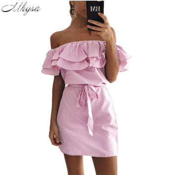 New 2017 Summer Fashion Women's New Striped Dresses Sexy Ruffle Dress Casual Style Comfortable Pretty Canonicals with belt 075