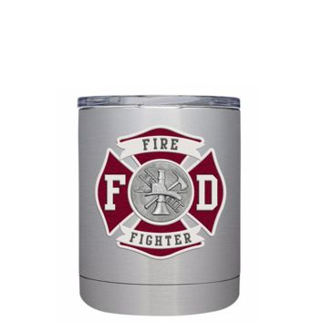 Red Fire Department Badge on Stainless 10 oz Lowball Tumbler