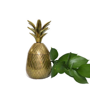 Vintage Brass Pineapple Box Boho Pineapple Brass Pineapple Candle Holder Jungalow Decor