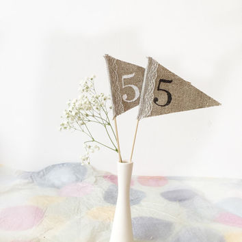 Burlap and lace Wedding Table numbers,  rustic table numbers,   burlap and lace  table numbers , personalized wedding centerpiece