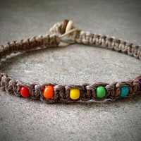 Natural Rainbow Hemp Bracelet