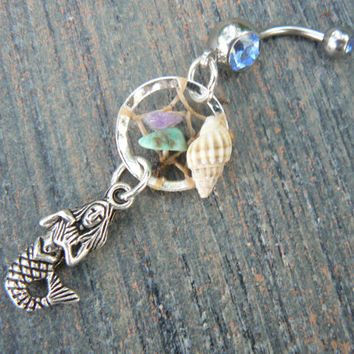 mermaid beach dreamcatcher belly ring mermaid seashell gemstones in fantasy belly dancer indie gypsy hippie morrocan boho and hipster style