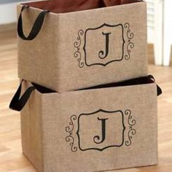 "Set of 2 Burlap Monogram Letter ""J"" Storage Oraganizer Bins Kid's Toys Books"