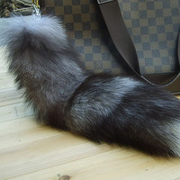 "Big faux Fox Fur Tail Keychain Tassel Bag Handbag Pendant Accessory Purse15"" 16"""
