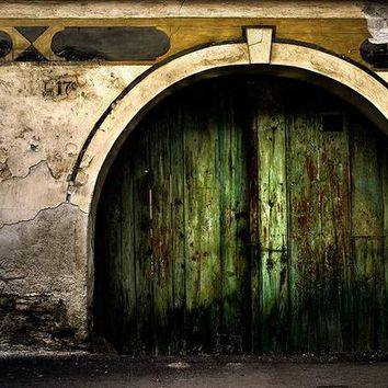 Rustic green door print - urban photography - prints for framing - architecture - city - hungary - SK0119P-I-XL