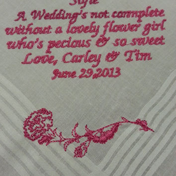 Flower girl Personalized Wedding Handkerchief. Gift for the flower girl Free Gift Box included.