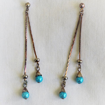 Vintage Mod Retro Turquoise Bead And Chain Drop Earrings In Tarnished Silver Tone