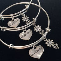 Choice of Children's Size Little Sister, Middle Sister or Big Sister Charm Bangle Adjustable Expandable Meaningful Gift Kid's Bangle