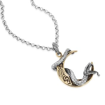Snake on Moon Crescent Pendant Necklace