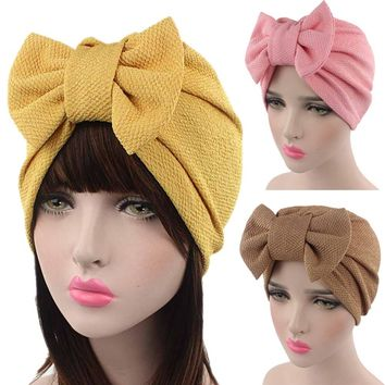 2017 KLV Spring Autumn Women Bow Cancer Chemo Hat Beanie Scarf Turban Head Wrap Cap#25