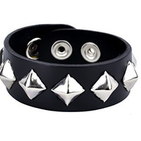 "Silver Pyramid Stud Black Leather Bracelet 1"" Wide Wristband"