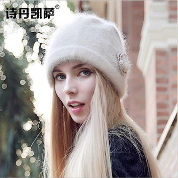 High Quality Fashion Women's Winter hat Rabbit Hair & Wool Warm beanie adjustable elegant Earmuffs cap femme autumn Skullies