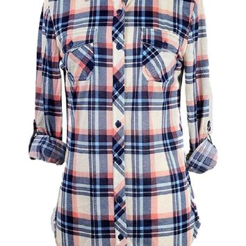 Long Sleeve Button Down Plaid, Ivory-Coral