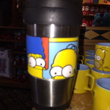 universal studios tumbler traveler stainless mug the simpsons big face new