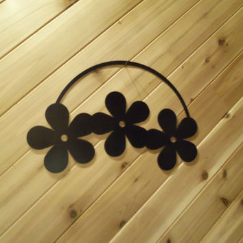 Metal Wall Art Three Flowers Hanging By PrecisionCut