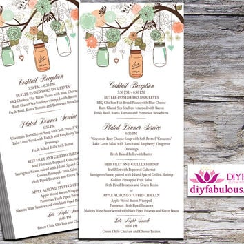 Coral Mason Jar Wedding Menu