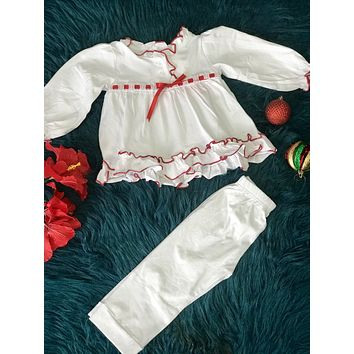 New Christmas Holiday White Princess Cotton Pajamas