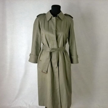 Sze 8 / 12 Vintage  70's Sanyo Trench Coat for Juster Woman, Olive Green, Lined, 70's Rain Coat  size S to M