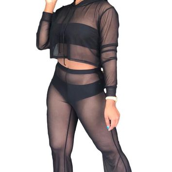 Mesh Sexy See Through Jumpsuit Two Piece
