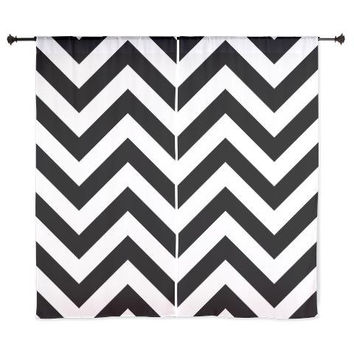 Chiffon Curtains - Chevron Curtains - Sheer Curtains - Glam Decor - Black and White Chevron - Dorm Room Curtains - Glam Decor