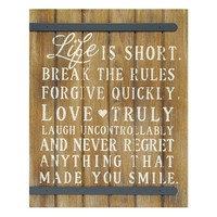 New View ''Life is Short'' Wood Wall Decor