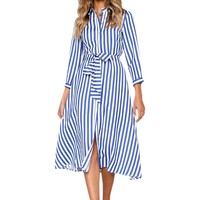 Striped A-Line Sashes Women Midi Dress Elegant Office Lady Autumn Three Quarter Dresses Femme Vintage Buttons Blue Dress M0030