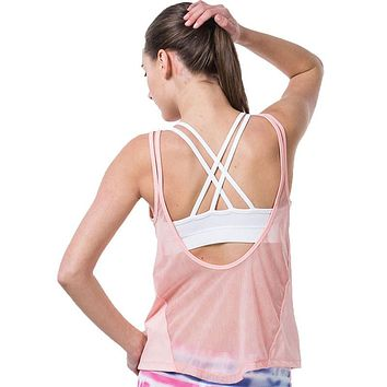Sexy Fitness Women Yoga Shirt Breathable Vest Hollow Mesh Fitness Gym Tank Top Tights Running Quick Dry Sports Yoga Shirt