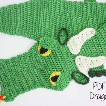 Crochet PATTERN - Dragon Scarf / Dragon Lovers, Majestic Dragon, Fantasy Dragon, Neck Warmer - PATTERN ONLY