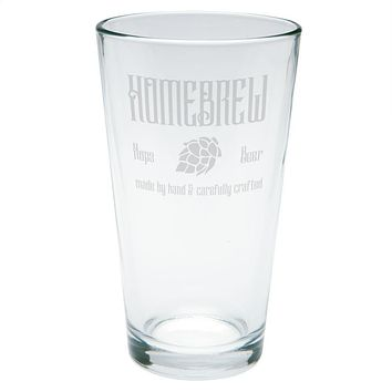 Homebrew Hops Beer Hand Crafted Etched Pint Glass