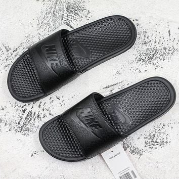 Nike Benassi Swoosh Black Slide Sandal Slipper - Best Deal Online