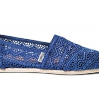 TOMS Cobalt Blue Crochet Women's Classics Slip-On Shoes,