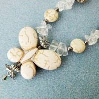 Clear Quartz Necklace Cream Ivory Howlite Butterfly Stones Antique | LittleApples - Jewelry on ArtFire