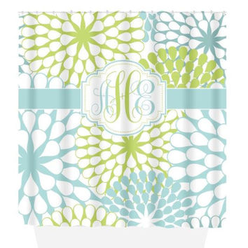 SHOWER CURTAIN, Floral Blue Green, Custom MONOGRAM Personalized Bathroom Decor Flower Burst Pattern Choose Color Beach Towel Plush Bath Mat