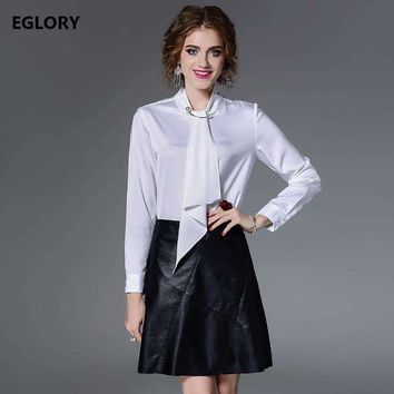 Women Tops and Blouse 2018 Spring Summer Fashionable Women Pearl Beading Bow Tie Long Sleeve White Red Black Shirts Big Sizes