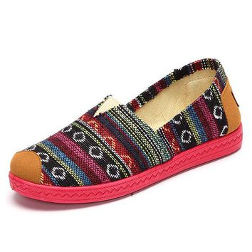 Bohemia Colorful Vintage Flat Stripe Slip On Loafers For Women
