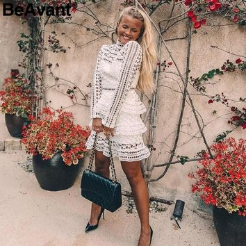 BeAvant Elegant white lace hollow out dress women Vintage long sleeve ruffle vestidos Autumn winter women party club dress