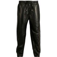 VIPARO | Black Lambskin Leather Track Pants - Norfast