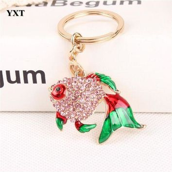 ONETOW Lovely Fish Goldfish Crystal Charm Pendant Purse Handbag Car Key Keyring Keychain Party Wedding Birthday Gift Accessories