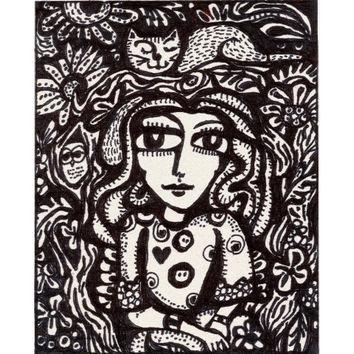 Whimsical Art, Girls Room Decor, Owl Art, Cat Art, Childrens Room Decor, Black And White  by Paula DiLeo