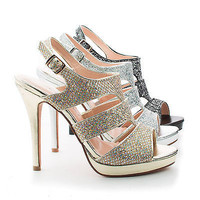 Kimi25 Slingback Dazzling Glitter Cluster Cut Out Strappy Stiletto Heels