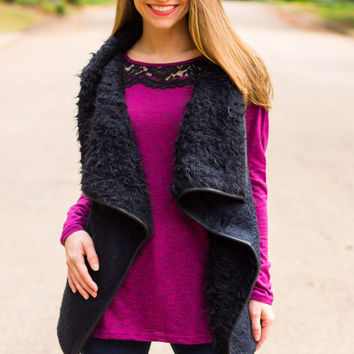 Lace Neckline Long Sleeve Top- Magenta